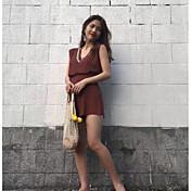Mujer Simple Casual/Diario Noche Verano T-Shirt Pantalón Trajes,Escote en Pico Un Color A Rayas Manga Corta Microelástico