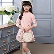 Vestido Chica de Floral Retazos Algodón Manga Larga Primavera Otoño
