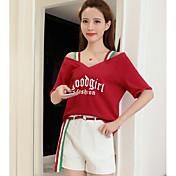 Mujer Simple Casual/Diario Todas las Temporadas Verano Invierno T-Shirt Pantalón Trajes,Escote Redondo Un Color Manga Corta