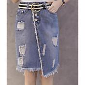 Mujer Vacaciones Sobre la Rodilla Faldas,Línea A Verano Bloque de Color