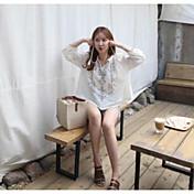 Mujer Bonito Casual/Diario Camisa,Escote Redondo Geométrico Manga Larga Algodón
