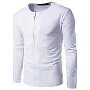 Hombre Simple Noche Casual/Diario Otoño Camiseta,Escote Redondo Un Color Manga Larga Algodón