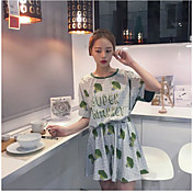 Mujer Simple Casual/Diario Verano T-Shirt Falda Trajes,Escote Redondo Un Color Patrón Manga Corta