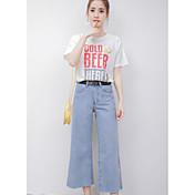 Mujer Simple Casual/Diario Verano T-Shirt Pantalón Trajes,Escote Redondo Refranes y citas Manga Corta