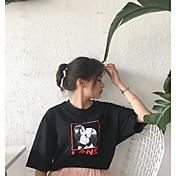 レディース お出かけ Tシャツ,キュート ラウンドネック プリント コットン 半袖