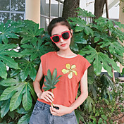 Mujer Bonito Casual/Diario Camiseta,Escote Redondo Floral Manga Corta Algodón