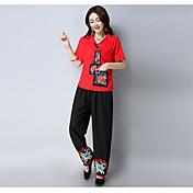 Mujer Sencillo chinoiserie Tiro Alto Inelástica Chinos Pantalones,Corte Recto Bordado