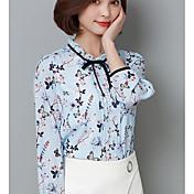Mujer Simple Bonito Casual/Diario Primavera Camisa,Escote Redondo Geométrico Manga Larga Licra Medio