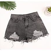 Mujer Sencillo Tiro Medio Inelástica Shorts Pantalones,Perneras anchas Un Color