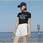 Mujer Sencillo Tiro Medio Microelástico Shorts Pantalones,Perneras anchas Un Color A Rayas
