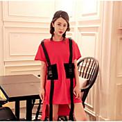 Mujer Simple Casual/Diario Polo,Escote Redondo Un Color Estampado Manga Corta Algodón