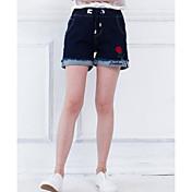 Mujer Sencillo Tiro Medio Microelástico Vaqueros Shorts Pantalones,Delgado Estampado