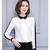 Mujer Simple Casual/Diario Camisa,Escote Cuadrado A Rayas Manga Larga Algodón