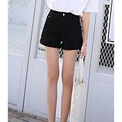 Mujer Chic de Calle Tiro Medio Microelástico Shorts Pantalones,Corte Recto Un Color