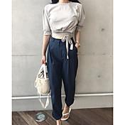 Mujer Simple Casual/Diario Verano T-Shirt Pantalón Trajes,Escote Redondo Un Color Media Manga