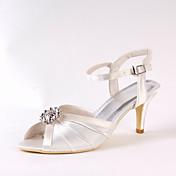 Mujer Zapatos de boda Pump Básico Seda Primavera Otoño Boda Vestido Fiesta y Noche Pedrería Tacón Stiletto Marfil 7'5 - 9'5 cms