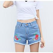Mujer Sencillo Tiro Medio Microelástico Vaqueros Shorts Pantalones,Delgado Un Color