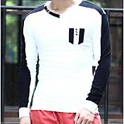 Hombre Simple Casual/Diario Camiseta,Escote en Pico Un Color Manga Larga Algodón Otro