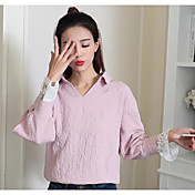 Mujer Simple Casual/Diario Primavera Camisa,Escote en Pico Un Color Manga Larga Licra Medio