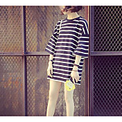 Mujer Simple Casual/Diario Camiseta,Cuello Barco A Rayas Manga 3/4 Otro