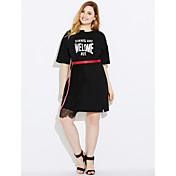 Mujer Vaina Vestido Trabajo Un Color Estampado Escote Redondo Midi Sobre la rodilla Manga Corta Algodón Primavera Tiro Medio Microelástico