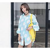 Mujer Simple Noche Camiseta,Cuello Camisero Un Color A Lunares Manga Larga Algodón Poliéster