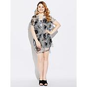 レディース ワーク シース ドレス,ソリッド フラワー Vネック 膝上 半袖 ポリエステル 春 ミッドライズ マイクロエラスティック ミディアム