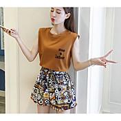 Mujer Simple Casual/Diario Verano T-Shirt Falda Trajes,Escote Redondo Un Color Patrón Sin Mangas