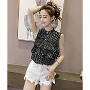 Mujer Simple Casual/Diario Camiseta,Escote Chino A Lunares Sin Mangas Algodón
