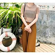 Mujer Corto Pullover Casual/Diario Un Color Escote Redondo Manga Corta Acrílico Primavera Verano Fino Rígido