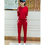 Mujer Simple Deportes Verano T-Shirt Pantalón Trajes,Escote Redondo Un Color Manga Larga