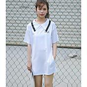 Mujer Recto Vestido Casual/Diario Simple,Un Color Cuello Camisero Sobre la rodilla Manga Corta Algodón Verano Tiro Alto Rígido Medio