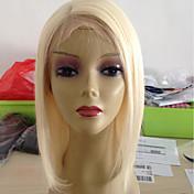 Mujer Pelucas de Cabello Natural Remy Encaje Frontal 130% Densidad Liso Peluca Blonde Corto Medio Entradas Naturales Para mujeres de