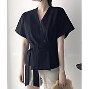 Mujer Simple Casual/Diario Camisa,Escote en Pico Un Color Manga Corta Algodón Otro