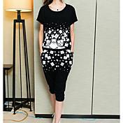 Mujer Simple Casual/Diario Verano T-Shirt Pantalón Trajes,Escote Redondo Estampado Manga Corta Microelástico