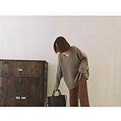 Mujer Regular Pullover Noche Casual/Diario Simple,Un Color Escote en Pico Manga Larga Angora Otoño Grueso Elástico