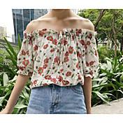 Mujer Simple Casual/Diario Camiseta,Escote Barco Estampado Manga Corta Algodón Otro