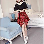 Mujer Simple Casual/Diario Verano T-Shirt Falda Trajes,Escote en Pico Houndstooth Manga Corta