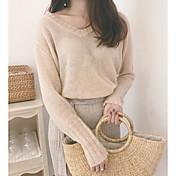 Mujer Regular Pullover Playa Un Color Escote Redondo Manga Larga Otro Primavera Verano Medio Microelástico