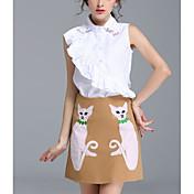 Mujer Simple Casual/Diario Verano Camisas Falda Trajes,Cuello Camisero Gato Sin Mangas Microelástico