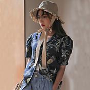 Mujer Simple Casual/Diario Camisa,Cuello Camisero Floral Manga Corta Otro