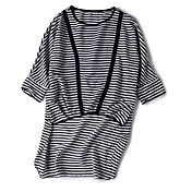 Mujer Chic de Calle Noche Casual/Diario Verano Camiseta,Escote Redondo A Rayas Manga 3/4 Poliéster Medio