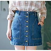 Mujer Casual/Diario Sobre la Rodilla Faldas,Línea A Verano Un Color