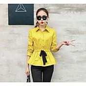 レディース カジュアル/普段着 シャツ,シンプル シャツカラー ソリッド コットン 七分袖