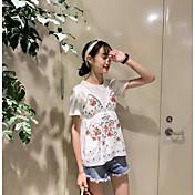 Mujer Simple Casual/Diario Tank Tops,Con Tirantes Un Color Floral Sin Mangas Algodón