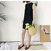 Mujer Gasa Vestido Casual/Diario Simple,Un Color Escote Redondo Sobre la rodilla Sin Mangas Poliéster Verano Tiro Medio Microelástico Fino