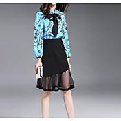 レディース カジュアル/普段着 夏 ブラウス スカート スーツ,シンプル スタンド ソリッド 長袖