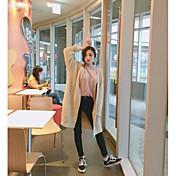 Mujer Largo Cardigan Noche Casual/Diario Chic de Calle,Un Color Escote en Pico Manga Larga Otro Otoño Medio Microelástico