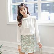 Mujer Simple Casual/Diario Camisa,Escote Chino Un Color Manga Larga Algodón