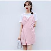 Mujer Bonito Noche Verano T-Shirt Falda Trajes,Escote Redondo Un Color Manga Corta